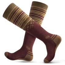 Ski Socks 2-Pack Merino Wool, Over The Calf (OTC) Non-Slip Cuff for Men & Women