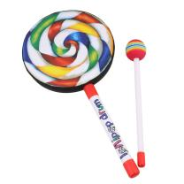 """Yibuy 5.9"""" Lollipop Shape Drum with Rainbow Color Mallet Music Rhythm Instruments Kids Children Playing Toy"""