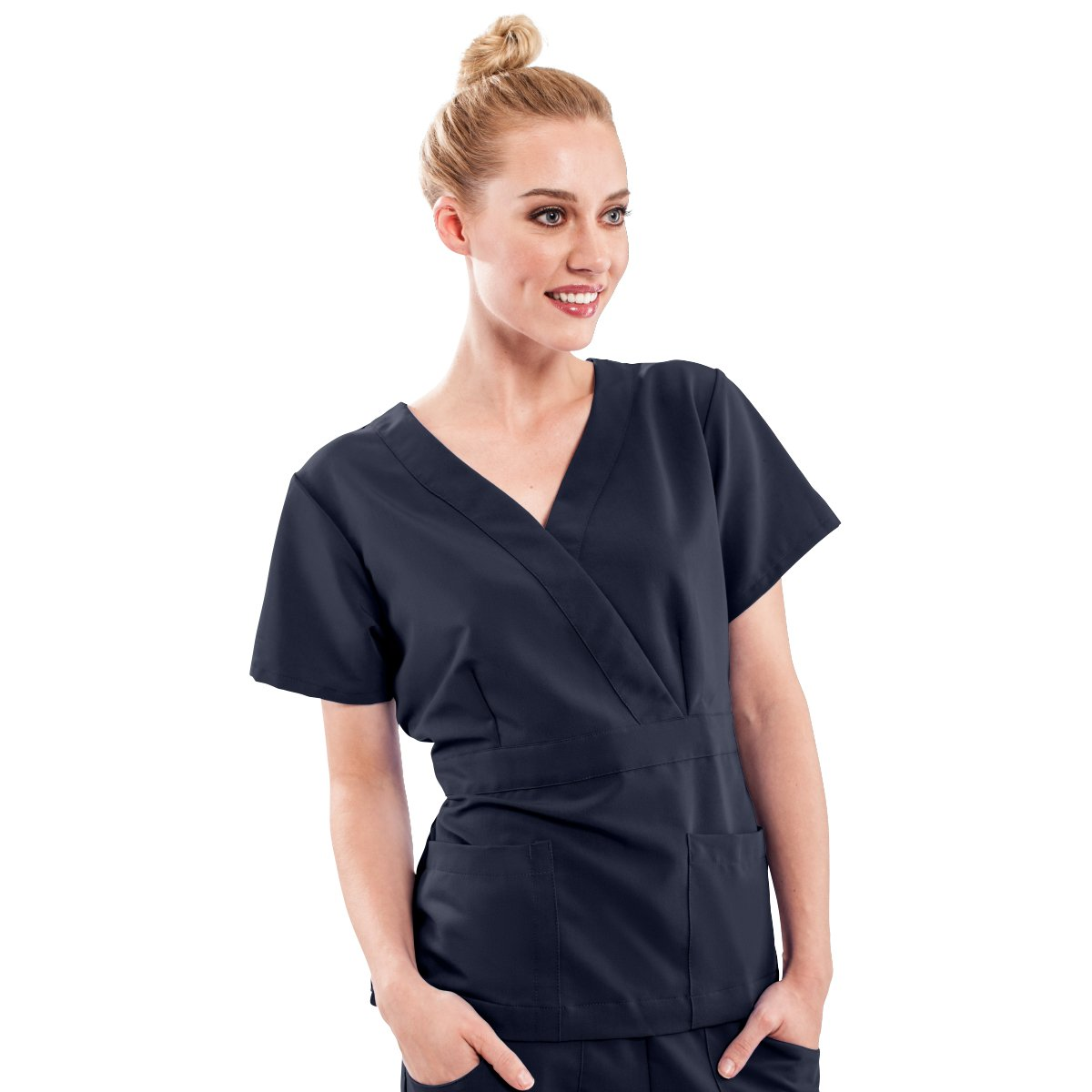 ave Women's Medical Scrub Top, Park ave, Slimming Mock Wrap Scrub Shirt, Great for Nurses, Navy, X-Large