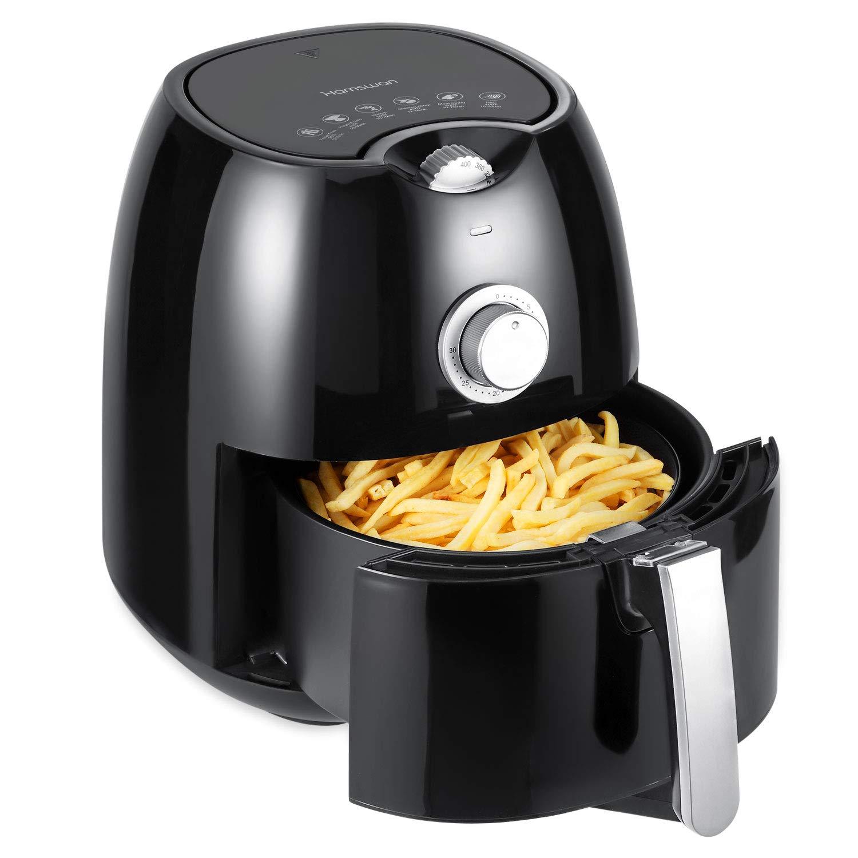 Air Fryer, HAMSWAN YD-AF09 Oil-Free Air Fryer, 1350W, Hot Air Circulation System, Manual Timer & Temperature Control, Non-Stick Pan, 2.7Quart Detachable Dishwashable Basket