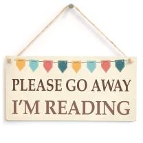 "Meijiafei Please Go Away I'm Reading - Cute Funny Book Bunting Design Gift Sign 10"" X 5"""