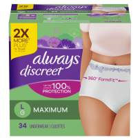 Always Discreet for Sensitive Skin Postpartum Incontience Underwear, Size L, Maximum Absorbency, 34 Count