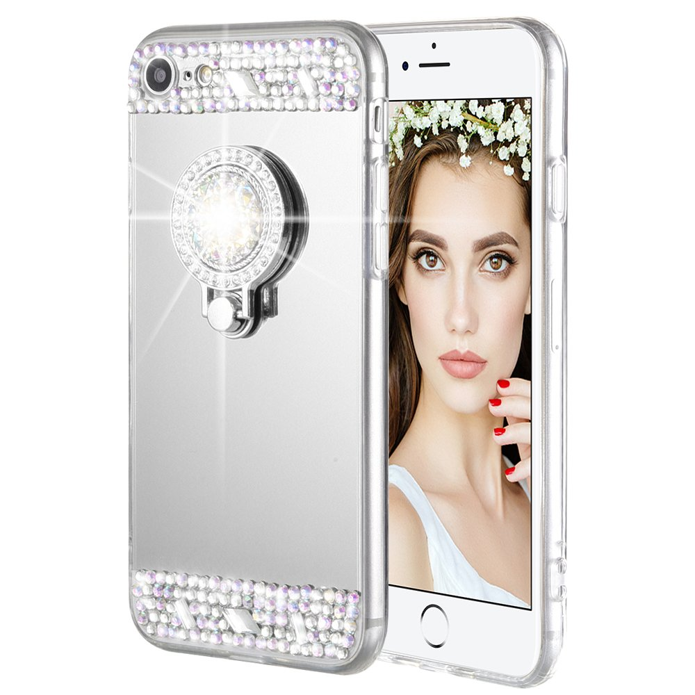 iPhone 7 8 Case, Caka iPhone 7 Glitter Case Rhinestone Series Luxury Cute Shiny Bling Mirror Makeup Case for Girls with Ring Kickstand Diamond TPU Case for iPhone 7 8 (Silver)