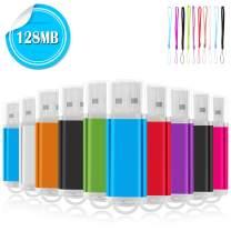 128MB USB Flash Drives 10 Pack, EASTBULL USB 2.0 Thumb Drives Memory Sticks USB Sticks with 10 Lanyards for Storage (Multicolors)