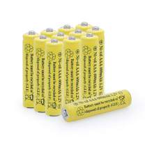BAOBIAN 1.2v AAA 600mAh NICD Rechargeable Battery for Outdoor Solar Lights,Garden Lights, Remotes, Mice (Yellow 12 PCS)