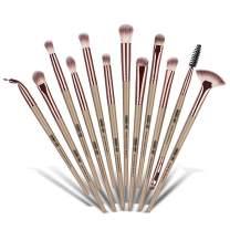 MAANGE Eye Makeup Brush Set, 12pcs Pro Makeup Brushes Eyebrow Eyeshadow Eyeliner Blending Crease Kit, Detailer Shader Definer Eyelash Brush (Champagne)