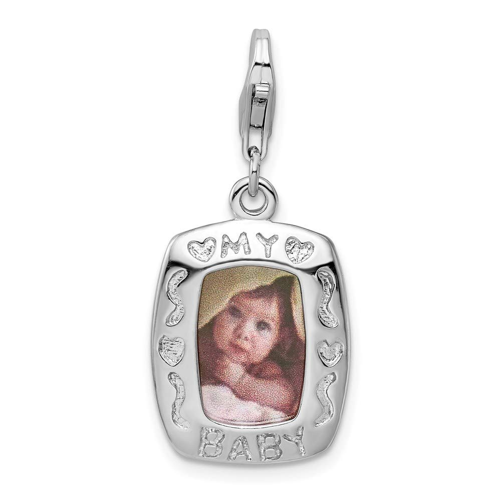 925 Sterling Silver Rh My Baby Frame Lobster Clasp Pendant Charm Necklace Photo Fine Jewelry For Women Gifts For Her