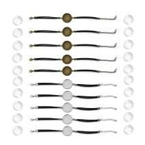 DROLE 40Pcs 25mm Black Leather Cabochon Bracelet Blanks Kit-20Pcs Bezel and 20Pcs cabochon Bracelets with Cabochos for Jewelry Making Black-2 Color Base