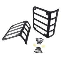 8MILELAKE Auto Car Light Guards Cover Matte Black Rear Taillights Guard Compatible for 2007-2018 Jeep Wrangler JK
