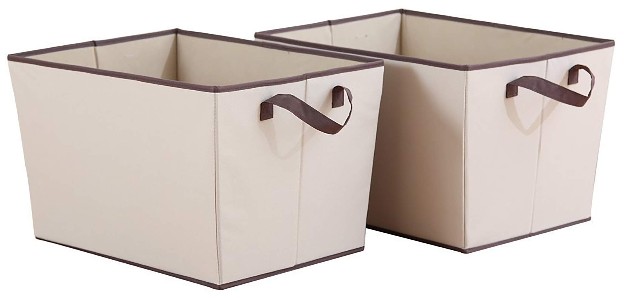 StorageManiac Foldable Open Polyester Canvas Storage Bin Box with Two Handles, Pack of 2, XL
