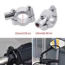 "7/8"" 22mm Motorcycle HandleBar 10mm Mirror Thread Mount Holder Clamp Adaptor Silver"
