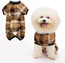 Dog Pajamas Plaid Pet Sweater for Winter Doggie Clothes - Soft Warm and Fashion Suitable for Small Medium Large Dogs Puppy
