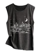 Women Desert Starry Night Shirt Cactus Tank Top Muscle Shirt Tee Tops