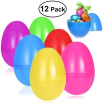 """Unomor 12 Pack 7"""" Jumbo Easter Eggs for Filling Treats Basket Stuffers Fillers Easter Party Favor Supplies, Classroom Prize Toys, Easter Egg Hunt - Durable Plastic, 6 Color, 7 x 4 Inch"""