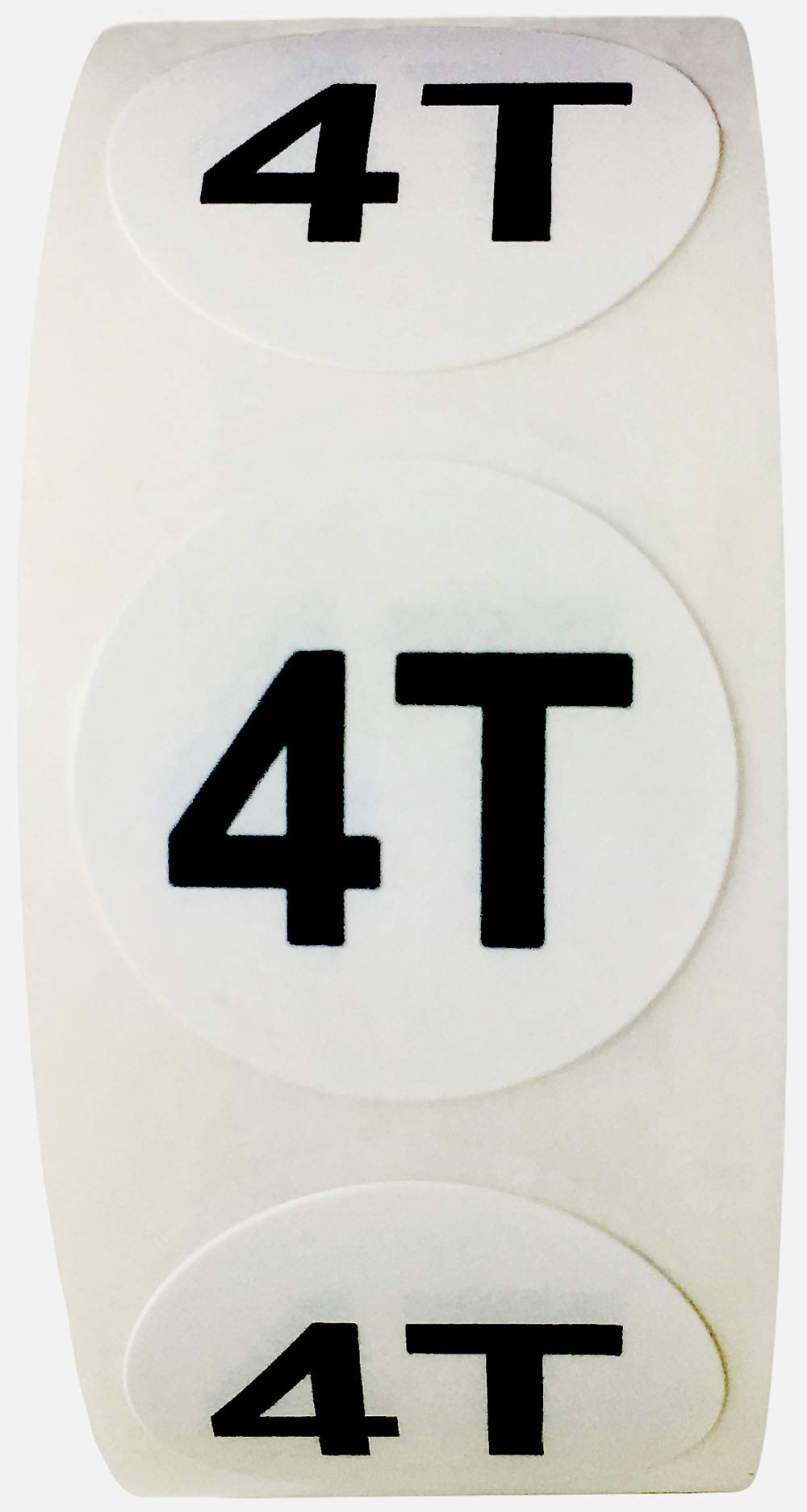 White Circle 4T Clothing Size Stickers for Retail Apparel 0.75 Inch 500 Total Adhesive Labels