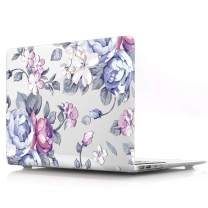 """HRH Hand Painted Purple Flower Clear Glossy Laptop Body Shell Protective PC Hard Case for MacBook Air 13.3"""" (A1466/A1369,Older Version Release 2010-2017) Not Compatible 2018 A1932 MacBook Air 13"""""""