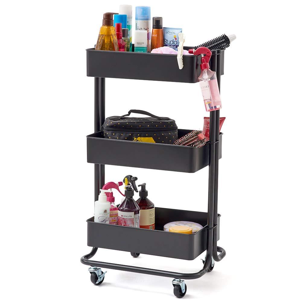 3-Tier Heavy Duty Storage Organizer Standing Shelf, EZOWare Multifunction Metal Mesh Basket Rolling Utility Organization Cart for Bathroom, Kitchen, Office, Salon & Spa