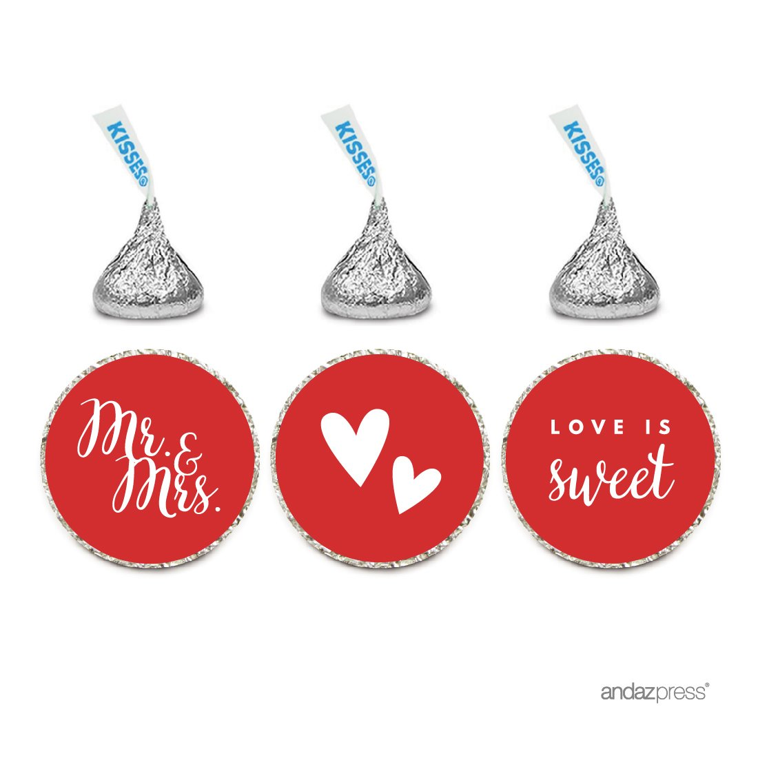 Andaz Press Chocolate Drop Labels Trio, Fits Hershey's Kisses, Wedding Mr. & Mrs, Red, 216-Pack, for Bridal Shower, Engagement Party Favors, Gifts, Stationery, Envelopes, Decor, Decorations