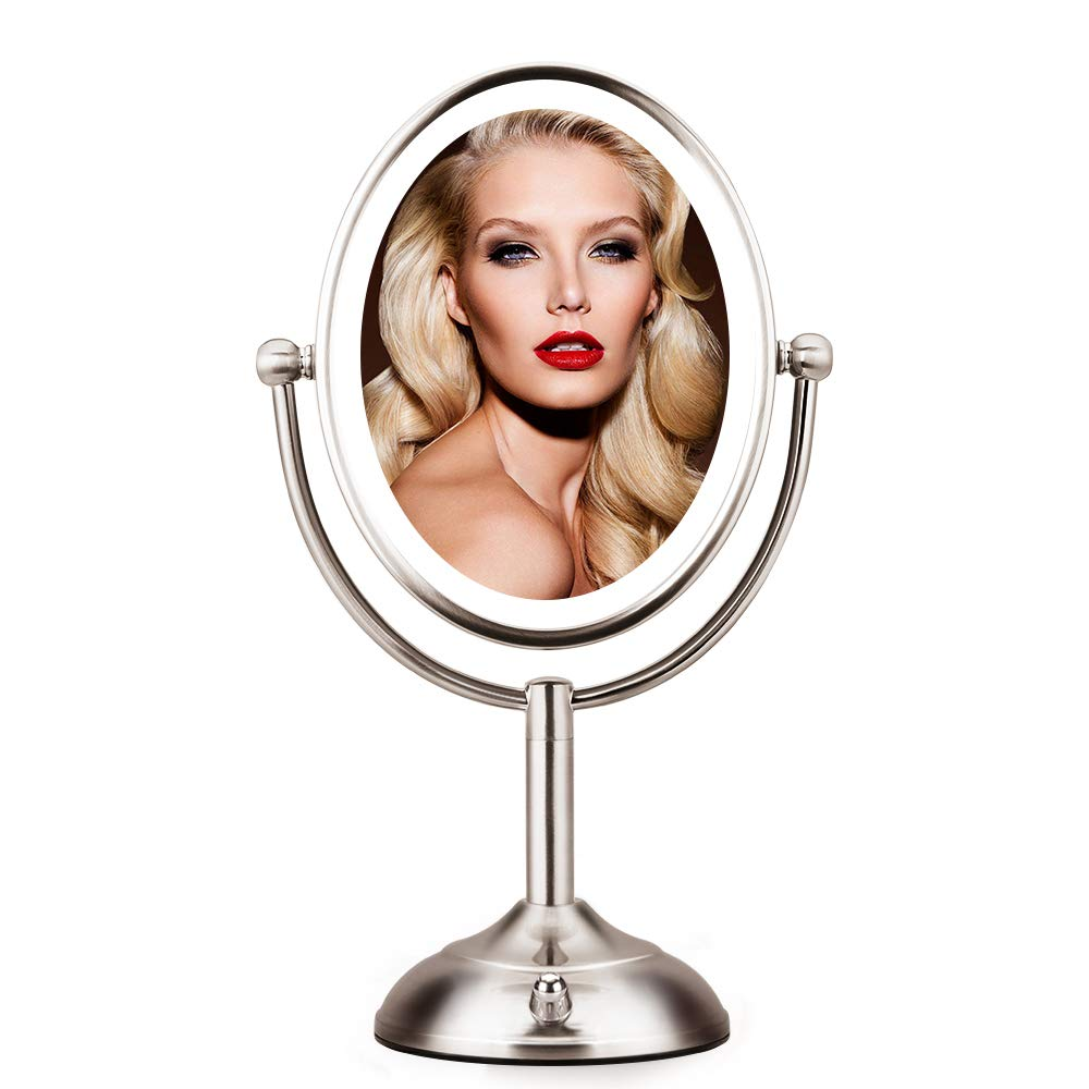 """Lighted Makeup Mirror - 8""""Magnifying Mirror with Light, Dimmable Natural LED Light, Double-Sided Oval Lighted Makeup Mirror with Magnification 1X/5X, 360° Rotation, Battery Operated/AC Adapter"""
