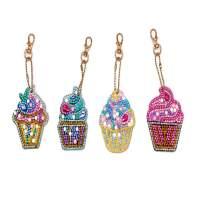 UM UPMALL 5D Diamond Painting Kit Keychain, 4Pcs DIY Handmade Full Diamond Painting Decorative Accessories Ice Cream Crafts