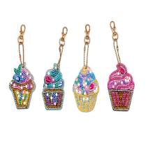 UM UPMALL 5D Diamond Painting Kit Keychain, 4Pcs DIY Handmade Full Diamond Painting Decorative Accessories Ice Cream Crafts