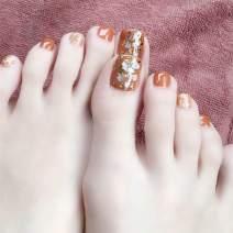 deladola Fashion False Toenails Orange Glossy Foot Fake Nails Square Full Cover Acrylic Fake Toe Nails Daily Party Clip Press On Nails for Women and Girls(24Pcs)