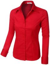 LE3NO Womens Plus Size Easy Care Work Office Formal Button Down Shirt with Stretch