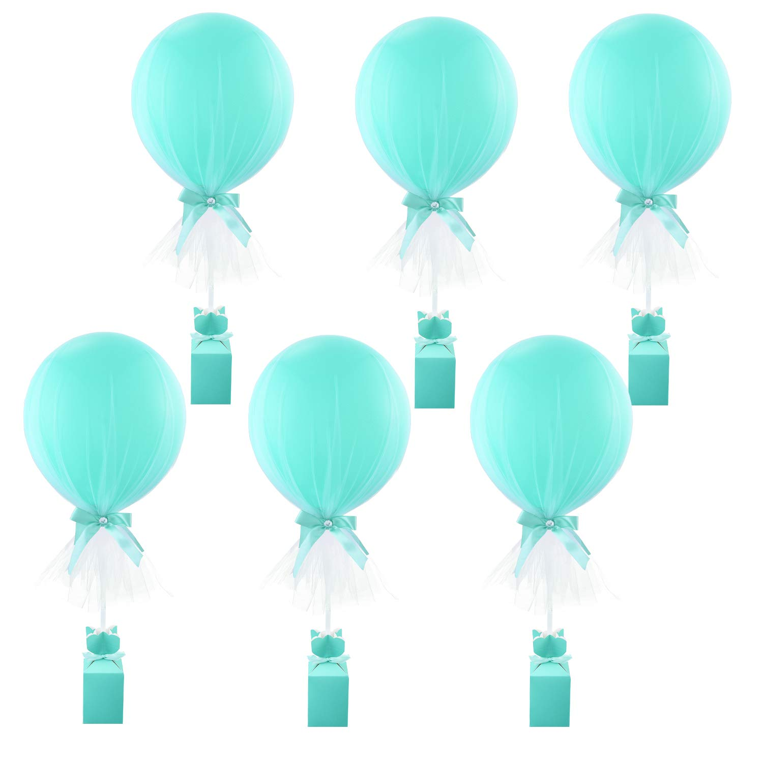 Tiffany Blue Tutu Tulle Balloons Baby Shower Decorations for Girl Birthday Weddings Parties Centerpiece Princess Party Table Balloons Tulle Cover,6 Pack