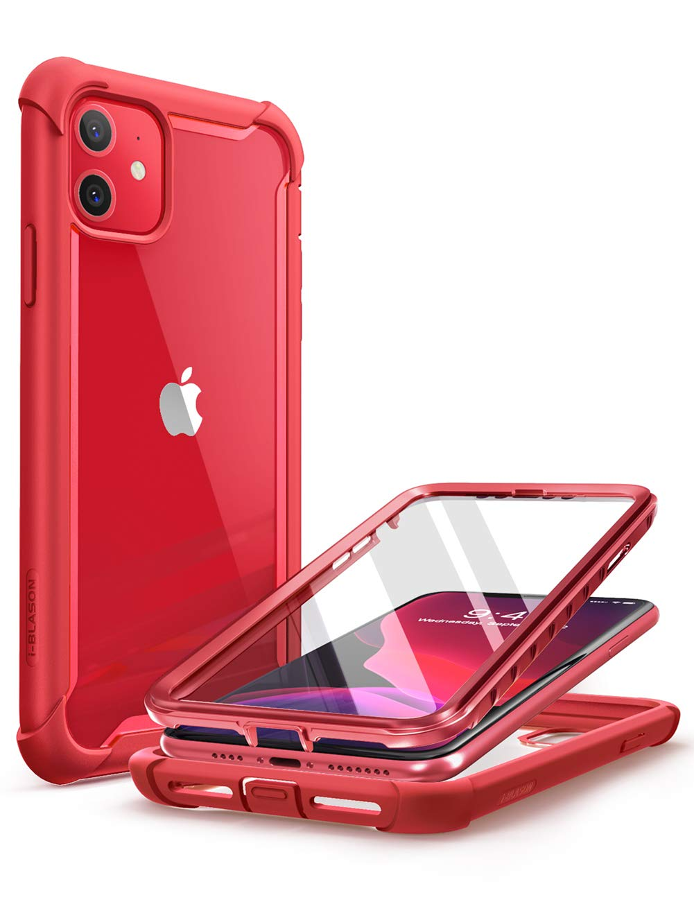 i-Blason Ares Case for iPhone 11 6.1 inch (2019 Release), Dual Layer Rugged Clear Bumper Case with Built-in Screen Protector (Metallic Red)