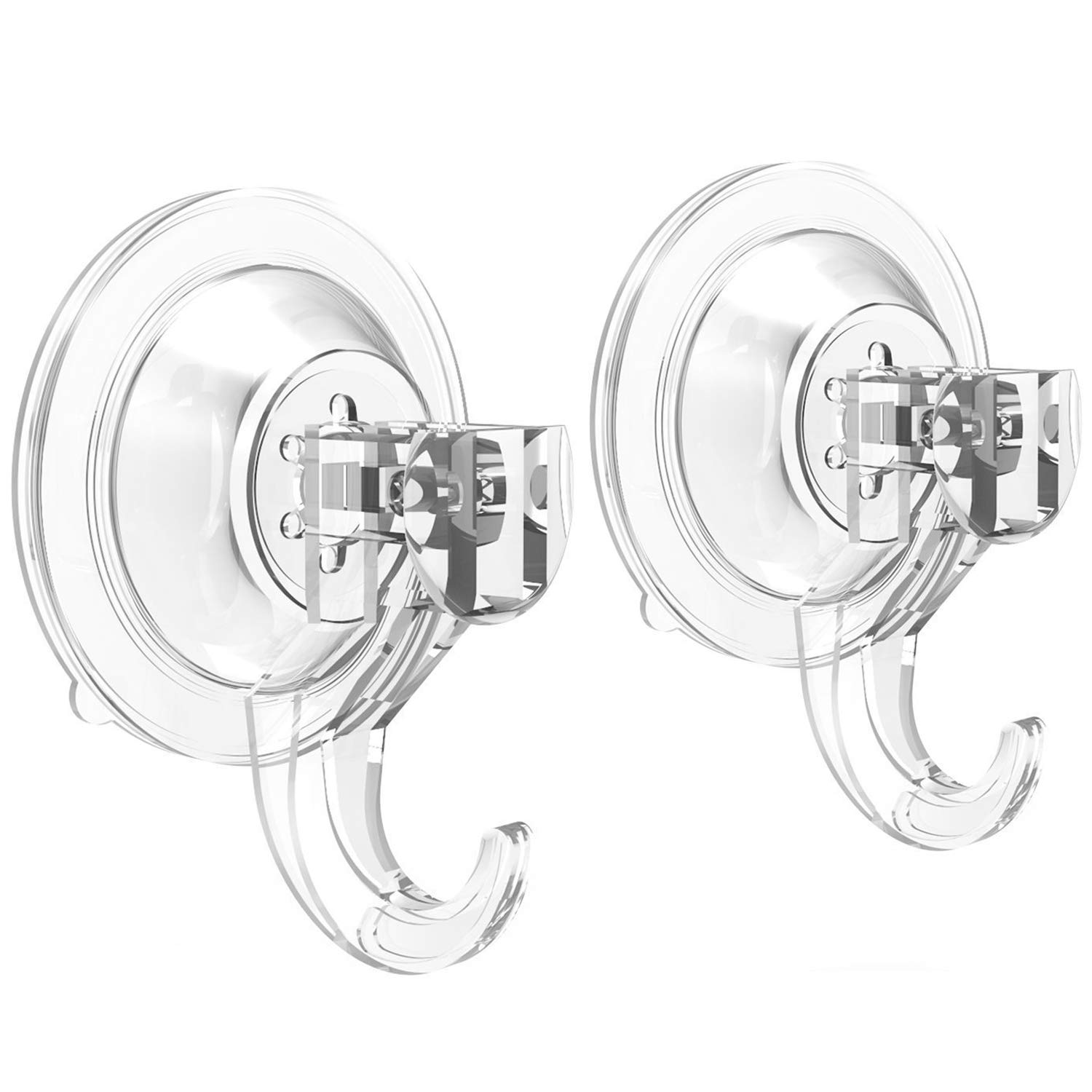 Suction Cup Hooks - Quntis Powerful SuperLock Suction Hooks (2 Pack) Heavy Duty Vacuum Suction Shower Hooks Kitchen Bathroom Wall Plastic Hooks Hanger for Towel Loofah wreath Robe Cloth Key Bag, Clear