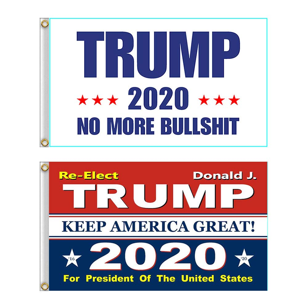 Shmbada 2 PCS US Donald Trump 2020 Keep America Great Red Flag with Brass Grommets, Double Stitched Vivid Color Anti Fading, Outdoor Indoor Flag Kit 3x5 Ft