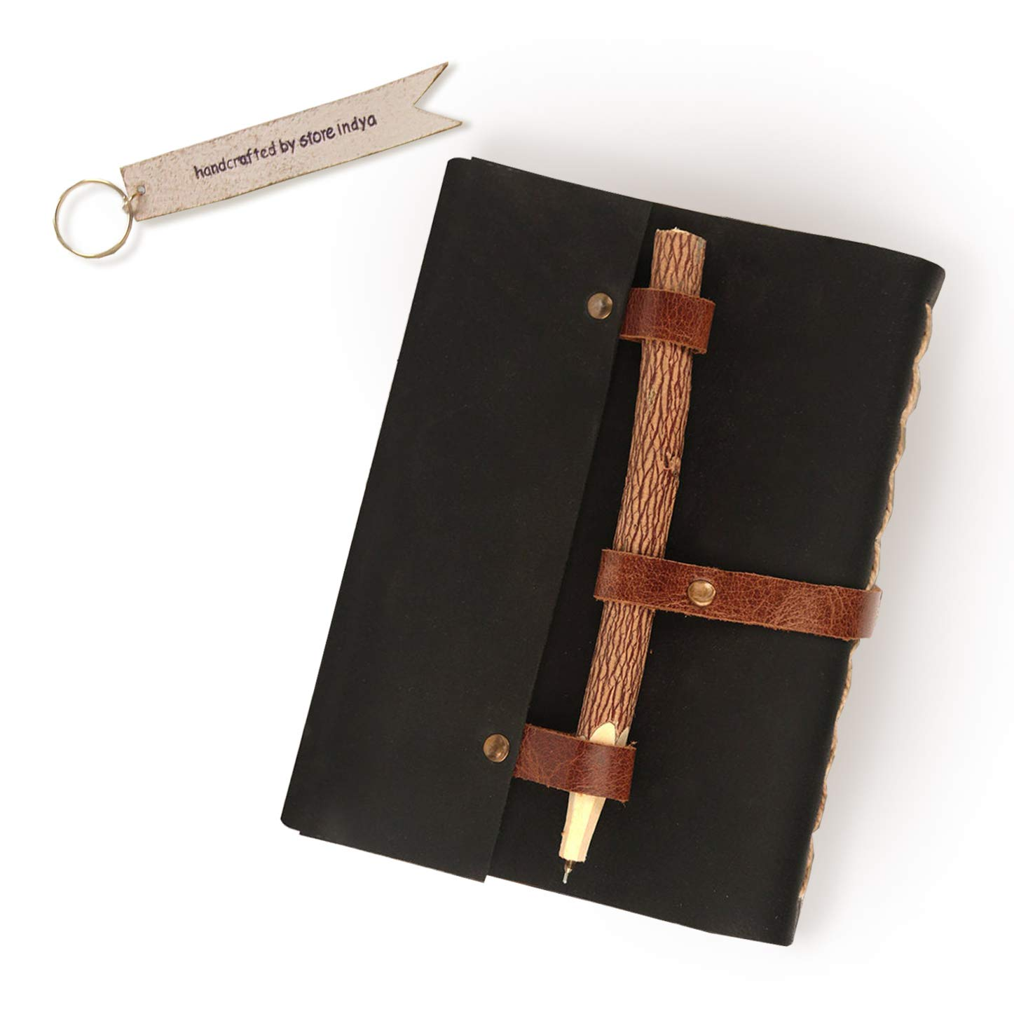 """Storeindya Leather Journal Diary Valentine Gifts Travel Diary Paper Book Unlined Blank Pages Bookmark & Neem Wood Pen Pencil (7"""" x 5""""inches) 200 Pages Book"""