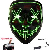 LED Halloween Mask Rechargeable Wireless New Model Light Up Mask Glowing Mask EL Wire Mask for Halloween Festival Parties