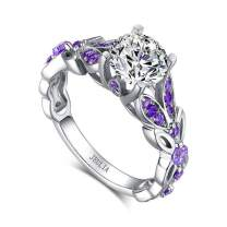 Jeulia 4.3 Carat Personalized Sterling Silver Butterfly Rings for Women Purple Amethyst Birthstone Bridal Rings Set Round Cut Wedding Engagement Promise