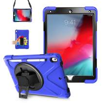 """iPad Air 3 Case 2019, LITCHI iPad Pro 10.5 Case with Pencil Holder, Rugged Case with 360 Rotatable Kickstand,Hand Strap/Shoulder Strap for iPad Pro 10.5"""" 2017 / iPad Air 3rd Generation 2019-Blue"""