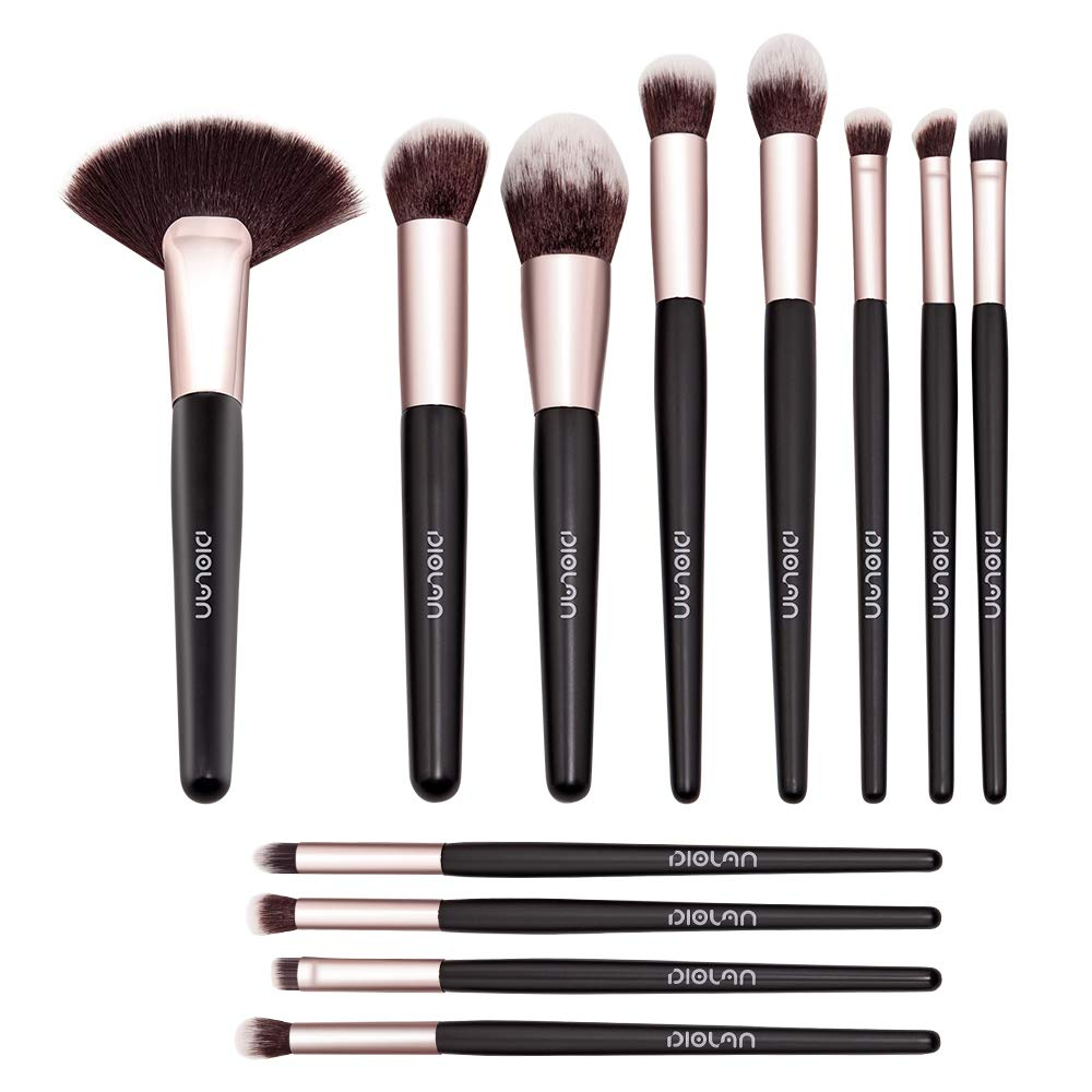 DIOLAN 12 PCs Makeup Brushes Premium Synthetic Contour Blush Concealers Foundation Concealers Highlighter Eye Shadows Cosmetic Brushes