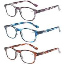 Norperwis Reading Glasses 3 Pack Men Women Spring Hinges Stylish Readers Glasses for Unisex