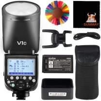 GODOX V1-C Round Head Flash Speedlight for Canon 76Ws 2.4G TTL 1/8000 HSS 1.5 sec Recycle Time 480 Full Power 2600mah Li-ion Battery