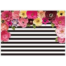Allenjoy 7x5ft Black and White Stripe Backdrops Pink Paper Flower Banner Birthday Graduation Wedding Mother's Day Retirement Bachelor Party Decoration Bridal Baby Shower Photo Studio Booth Background