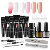 TOMICCA Professional Polygel Nail Kit, 6x15g Polygel Nails Bulider Gel with 2x8ml Top Coat Base Coat, 1x20ml Slip Solution and 100pcs Dual Forms Nail File Poly Gel Tools All-in-One Polygel Kit