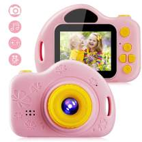 iKALULA Kids Video Camera Digital Toy Camera for Girls Boys Toddlers 3-10 Year Old Birthday Gifts, 1080P HD Shockproof Rechargeable Video Recorder Player with 2 Inch IPS Screen, Pink