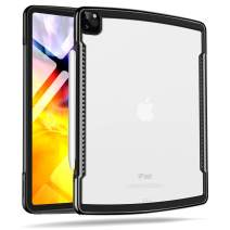 XUNDD Case for iPad Pro 12.9'' 4th Gen 2020/2018, Anti-Scratch Slim Frosted Clear Back, Shock Absorption Soft TPU Edge Bumper, Heat Dissipation Hole Design [Support Apple Pencil Charging] - Black