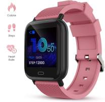 GOKOO Smart Watch for Men Women Activity Fitness Tracker with Heart Rate Monitor Sleep Monitor Remote Camera Control Step Calorie Counter Waterproof Reminder Smartwatch for Men Women (Pink)