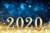 AOFOTO 9x6ft Bokeh Dots 2020 Photo Backdrop Glitter Gold Sequins on Ground Happy New Year Countdown 2020 Background for Photography New Year Party Festival Event Decoration Photo Studio Props Vinyl