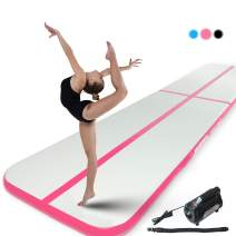 Murtisol 10/13/16/21/24/27/34ft Inflatable Gymnastics Training Mats Tumbling Mats 4/6 Inch Thickness for Home Use/Training/Cheerleading/Yoga/Water Fun with Electric Pump Pink/Blue/Black