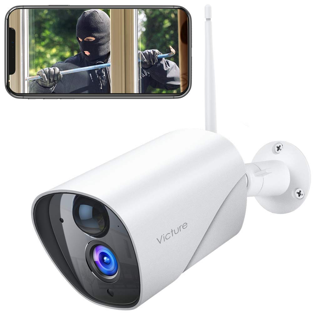 Outdoor Security Camera Victure 1080P IP65 Weatherproof Home Surveillance IP CCTV Camera 2.4G WiFi with Smart PIR Motion Detection/Night Vision/Two Way Audio Compatible with iOS & Android Systerm