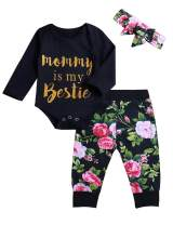 Infant Baby Girl Clothes Mommy is My Bestie Black Long Sleeve Romper +Floral Pants with Headband Outfit Set