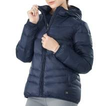 GYMAX Women's Heated Down Jacket, Lightweight Water-Resistant Electric Warm Hooded Puffer Down Coat (Power Bank Not Included)