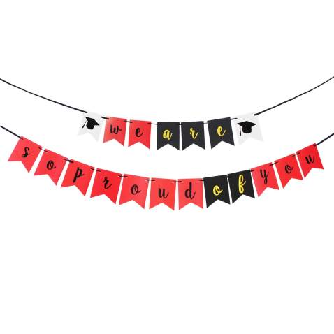 Lingpar We Are Proud Of You Banner Perfect Graduation Decorations Party Supplies For Grad Bunting Red White Black