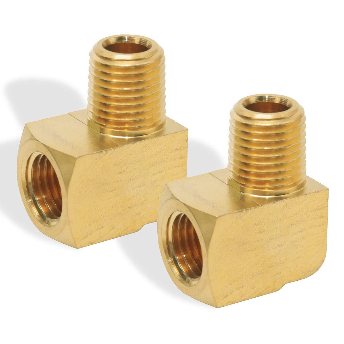 "Boeray 2 pcs Brass Fitting, 1/8"" NPT Male Pipe to 1/8"" NPT Female Pipe 90 Degree Barstock Street Elbow"